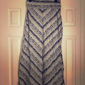 Light Grey, Blue Striped Maxi Skirt